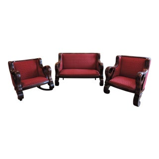 C1880 Flame Mahogany Parlor Set - Set of 3