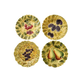 French Majolica Fruit Plates - Set of 4