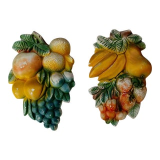 Mid-Century Chalkware Fruit Wall Plaques - A Pair