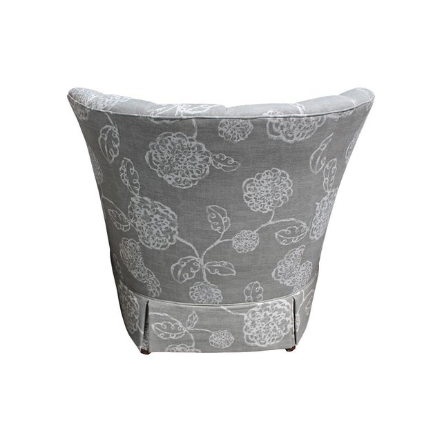 Image of Floral Print Channel Back Chairs - Pair
