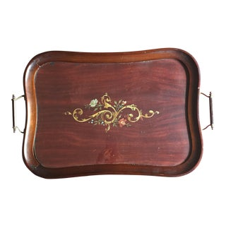 Edwardian Mahogany & Glass Tray