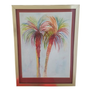 Palm Beach Style Palm Tree Watercolor Painting Framed and Matted