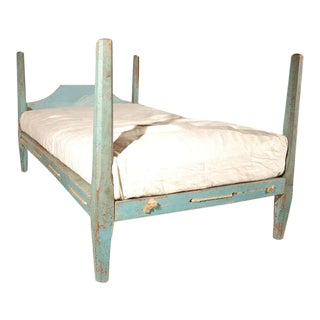 19th Century Original Blue Painted Pencil Post Hired Hands Bed