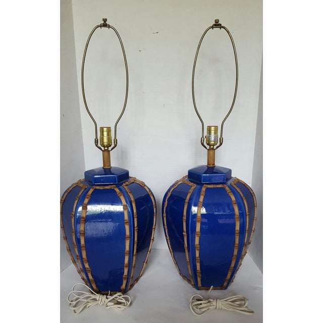 Blue Glazed Faux Bamboo Lamps - A Pair - Image 3 of 3
