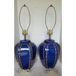 Image of Blue Glazed Faux Bamboo Lamps - A Pair