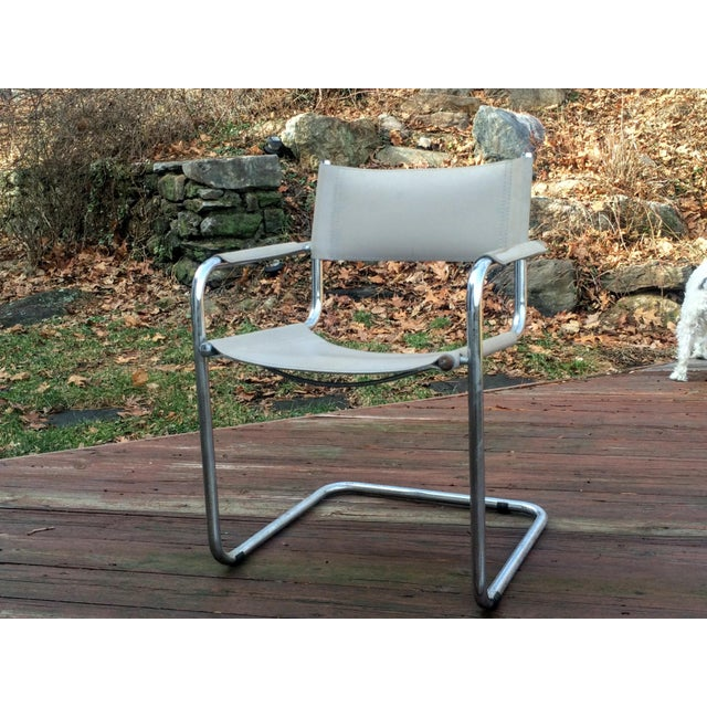 Vintage Mart Stam Breuer Style Tubular Chrome & Gray Leather Chair - Image 8 of 11