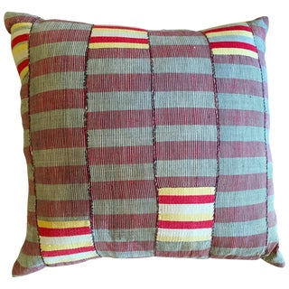 Vintage African Grey and Red Stripped Pillow