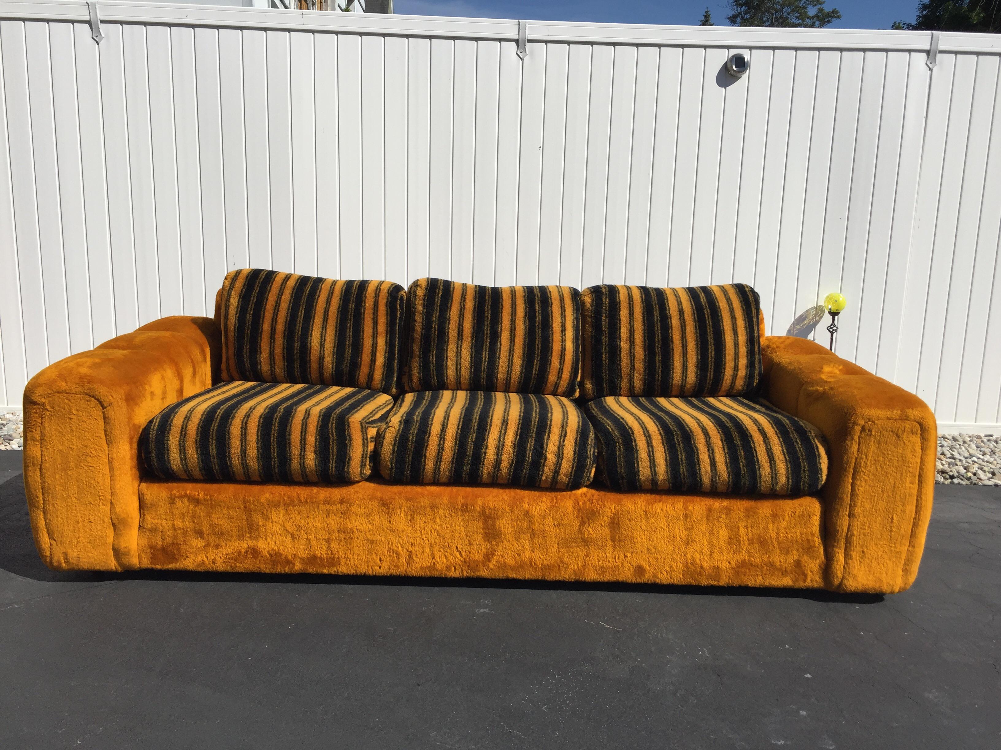 Charming Vintage Schweiger Orange Gold Faux Fur Sofa   Image 2 Of 11