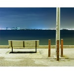 Image of Bench and Poles - Night Photograph by John Vias