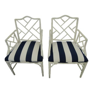 Bamboo Chairs with New R L Upholstery - A Pair