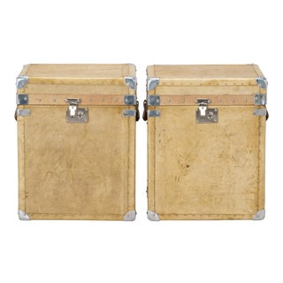 Pair Early 20th Century Reconditioned Vellum Trunks