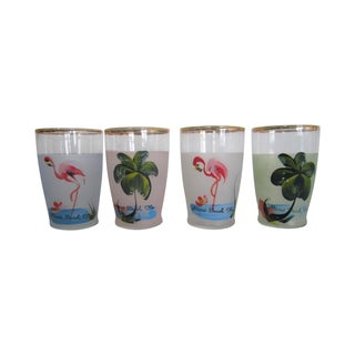 Vintage Hand Painted Miami Beach Glasses - S/4