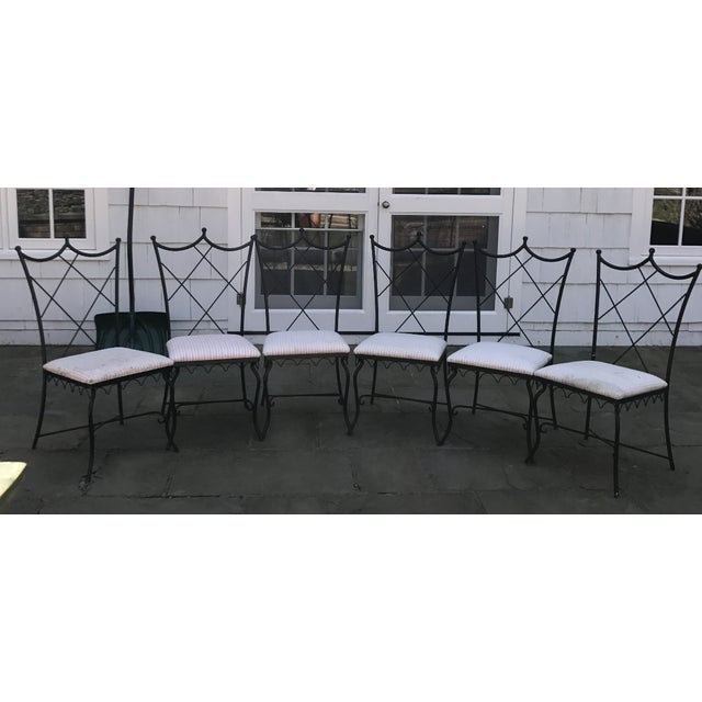 Vintage Outdoor Wrought Iron Chairs - Set of 6 - Image 2 of 5