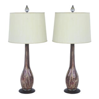 Mid-Century Gold Murano Glass Lamps - A Pair