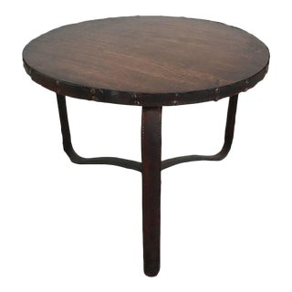 Early Jacques Adnet Stitched Leather Table