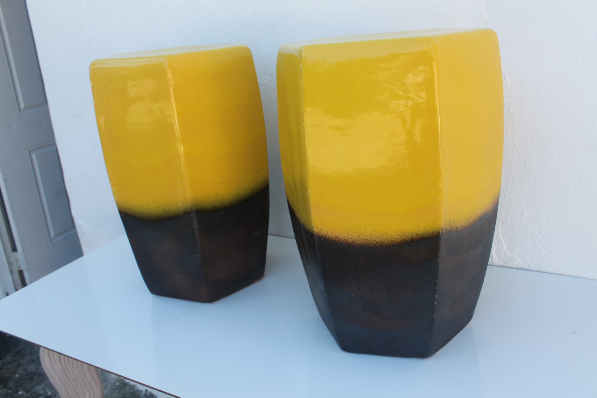 Vintage Yellow Ceramic Garden Stools   A Pair   Image 4 Of 8
