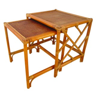 Bamboo & Woven Rattan Nesting Tables - A Pair