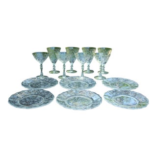 Vintage Fostoria Stems & Dessert Plates - 14 Pieces
