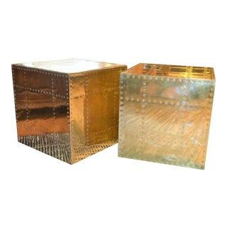 Sarreid Ltd. Brass Cube Side Tables - a Pair