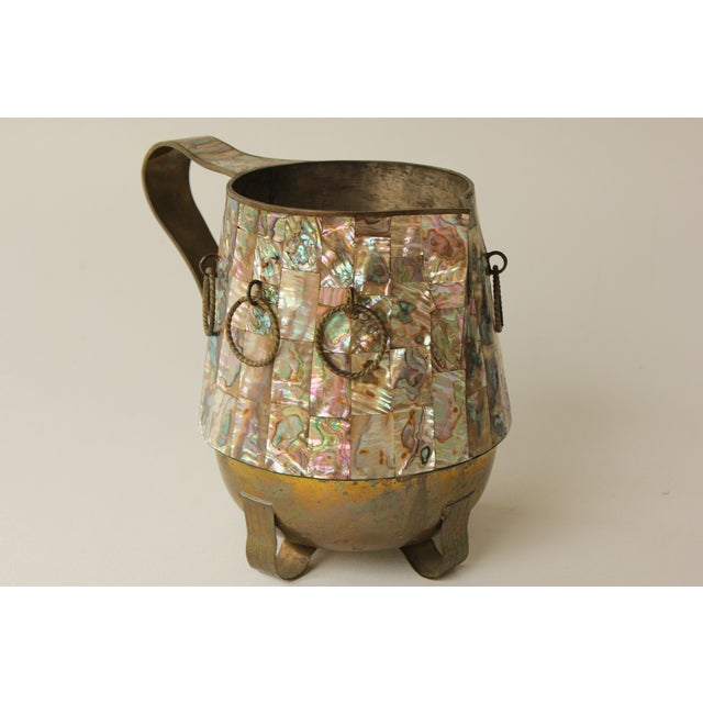 Salvador Teran Abalone Shell & Brass Pitcher - Image 2 of 7