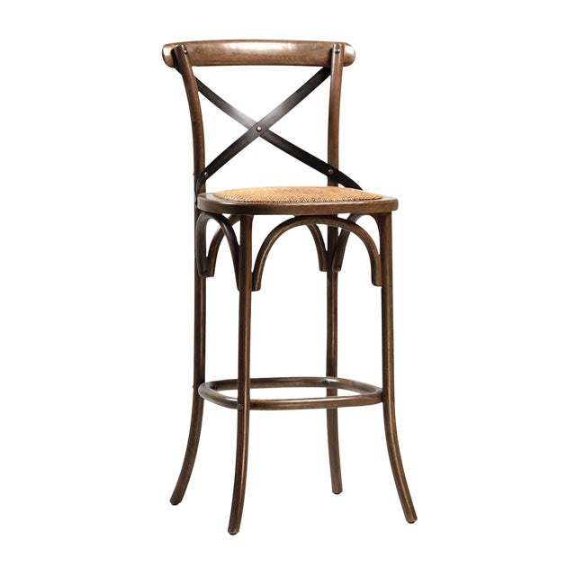 Rattan Seat Oak Bar Stool - Image 1 of 2