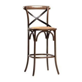 Rattan Seat Oak Bar Stool