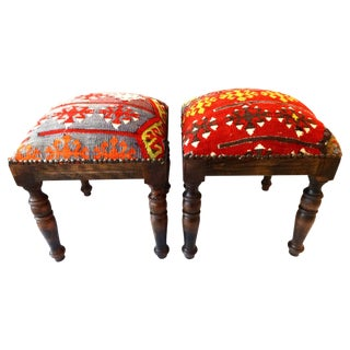 Antique Caucasian Kilim Stools - Pair