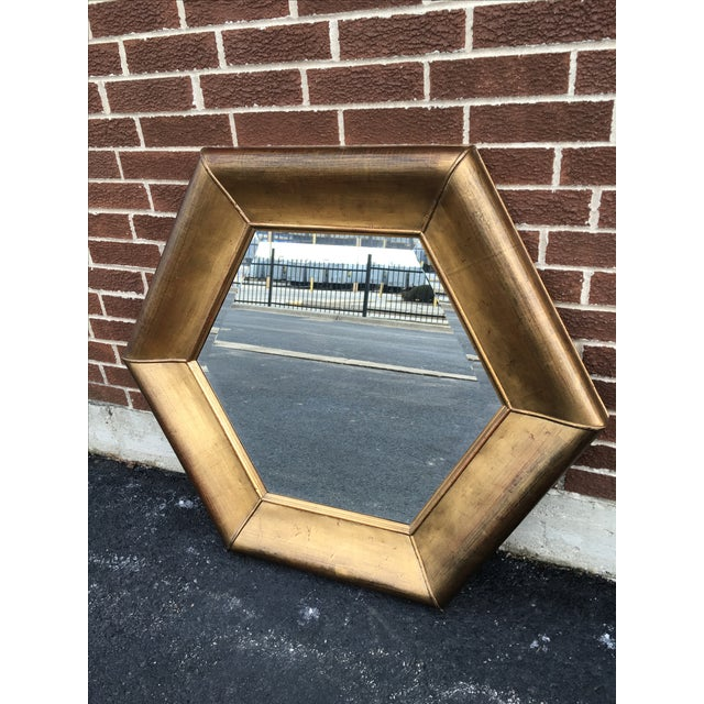 Image of Muted Gold Hexagon Shaped Mirror