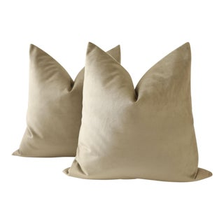 "22"" Olive Green Velvet Pillows - a Pair"