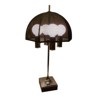 Modernist Chrome Bouillotte Style Table Lamp Metal Mesh Umbrella Shade