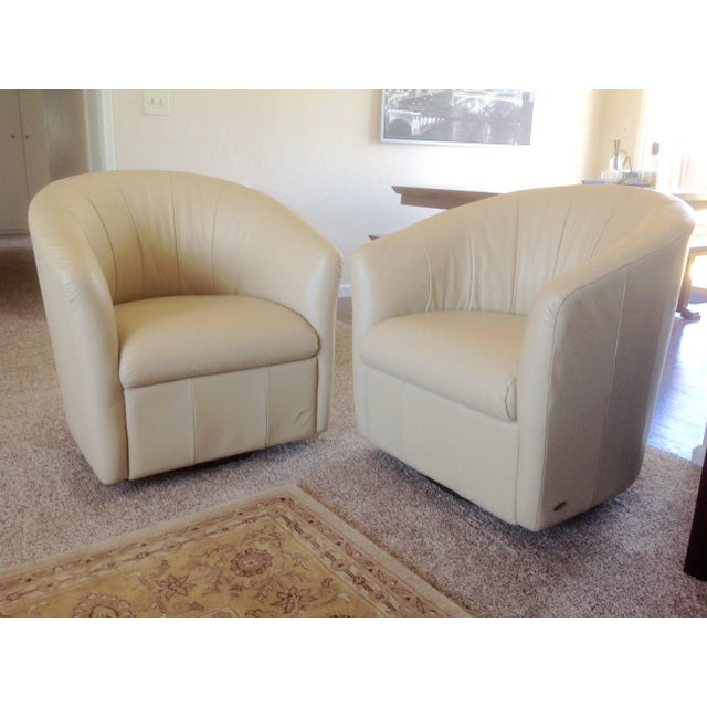 Natuzzi Beige Leather Swivel Chairs - A Pair - Image 2 of 11