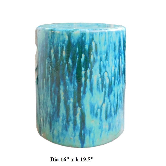 Ceramic Turquoise Green Round Garden Stool - Image 6 of 6
