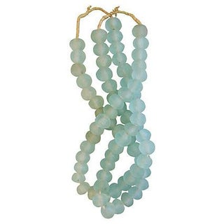 Icy Teal Jumbo Sea Glass Beads - Set of 2 Strands