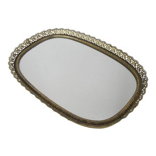 Hollywood Regency Brass Mirrored Vanity Tray