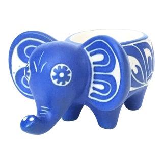Vintage Blue Pottery Elephant Dish by Pablo Zabal