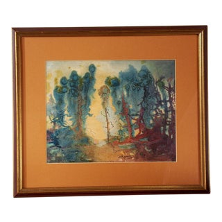 Vintage Abstract Expressionist Landscape Painting