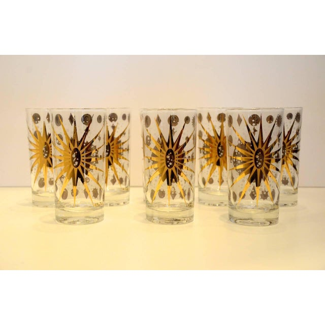 Eight Vintage Fred Press White and Gold Celestial Pattern Tom Collins Glasses - Image 8 of 8