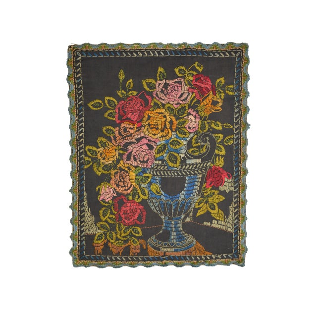 Antique Embroidered Tapestry - Image 1 of 3