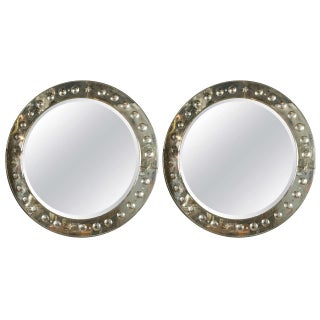 Round Bullseye Etched Mirrors - Pair