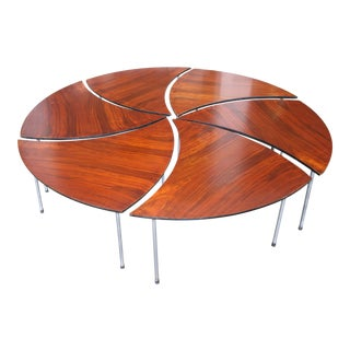 Round Hvidt Style Rosewood Pinwheel Coffee Table with Six Petals