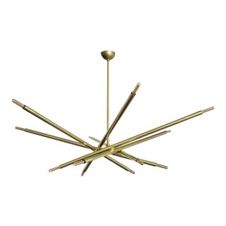 6-Arm Raw Brass Spiral Chandelier