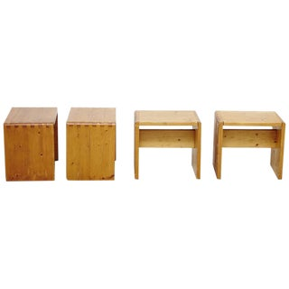 Set of Four Charlotte Perriand Stool for Les Arcs