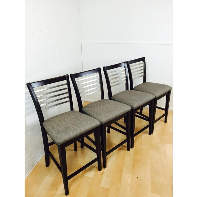 Image of Contemporary Wood, Steel and Fabric Stools - 4