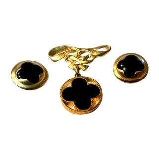 Karl Lagerfeld Clover Brooch & Earrings