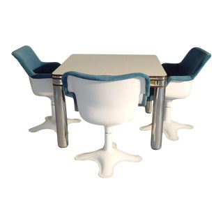 Post Modern Italian Poker Game Table With Four Swivel Chairs by Joe Columbo
