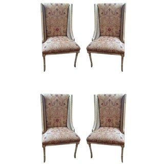 Upholstered Painted and Carved Wooden Dining Chairs - Set of 4