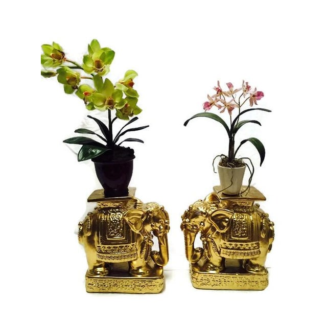 Vintage Gold Chinoiserie Asian Elephants - A Pair - Image 4 of 6