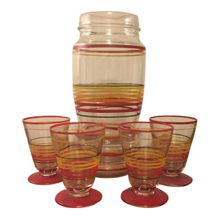 Retro Cocktail Bar Pitcher & Glasses - Set of 5