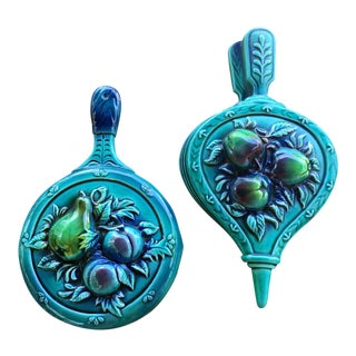 Lefton Blue Fruit Wall Hangings - Set of 2