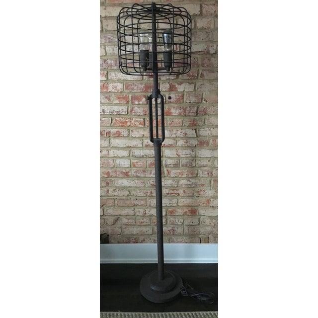 Industrial Cage Edison Bulb Rust Metal Floor Lamp Chairish